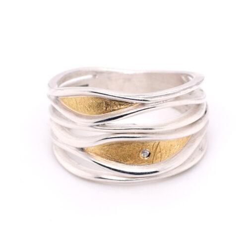 Ring Silber mit Feingold und Brillant
