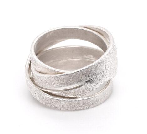 Wickelring Silber, eisgekratzt